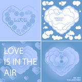 Cartão azul ajustado para o dia de Valentim Imagens de Stock