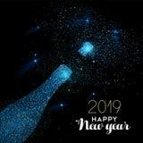 Cartão azul da garrafa do champanhe do brilho do ano novo 2019 ilustração stock
