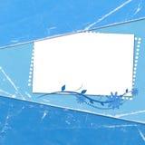 Cartão azul das felicitações com a folha para o projeto Fotografia de Stock