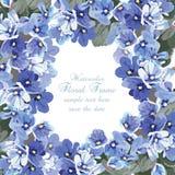Cartão azul das flores da aquarela bonita Fotos de Stock