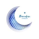 Cartão azul de Crescent Moon Mosque Window Ramadan Kareem Greeting do origâmi ilustração stock