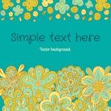 Cartão azul de flores da garatuja Imagem de Stock Royalty Free