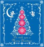 Cartão azul do cumprimento do Natal com a árvore do corte do Livro Branco do ofício, os flocos de neve e anjos de suspensão ilustração stock