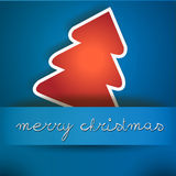 Cartão azul do Feliz Natal com árvore vermelha Imagens de Stock