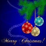 Cartão azul do feriado do Natal do vetor Foto de Stock