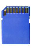 Cartão azul do SD no branco com trajeto de grampeamento Foto de Stock