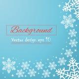 Cartão azul festivo para o ano novo ou o Natal Flocos de neve desenhados à mão de queda, com espaço para o texto Ilustração do ve ilustração do vetor