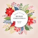 Cartão, bandeira e fundo do Feliz Natal no estilo elegante, moderno e clássico com folhas, flores e pássaro ilustração stock
