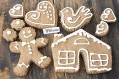 Cartão bem-vindo com cookies do pão-de-espécie Fotografia de Stock Royalty Free