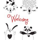 Cartão bem-vindo com os carneiros engraçados Panda Rabbit do porco dos animais Imagens de Stock