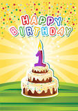 Cartão birthsday feliz do molde com bolo e candl ilustração stock