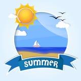 Cartão, boa vinda ao verão ilustração stock