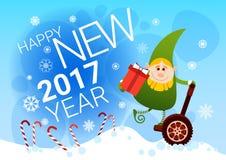 Cartão bonde do ano novo feliz do feriado do Natal da roda do passeio verde do duende mono Fotos de Stock Royalty Free