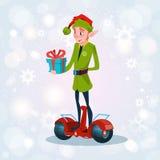 Cartão bonde do ano novo feliz do feriado do Natal do 'trotinette' do passeio verde do duende Imagem de Stock Royalty Free