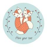 Cartão bonito com duas raposas Amor entre animais Ramos abstratos em cada lado Vetor Imagem de Stock Royalty Free
