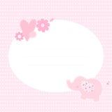 Cartão bonito com elefante, flores e coração ilustração do vetor