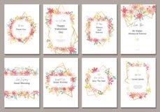 Cartão bonito com flores e linhas do ouro Fotos de Stock