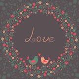 Cartão bonito com flores e pássaros Fotografia de Stock Royalty Free