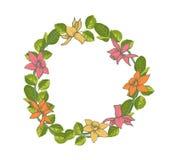 Cartão bonito com grinalda floral Imagem de Stock Royalty Free