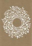Cartão bonito com grinalda floral e fita A ilustração brilhante, pode ser usada como a criação do cartão, convite ilustração do vetor