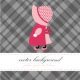 Cartão bonito com menina pequena ilustração royalty free