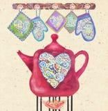 Cartão bonito com o bule vermelho no fogo, nos corações e nos potholders Fotografia de Stock