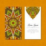 Cartão bonito com o mehndi da mandala da cor Fotos de Stock