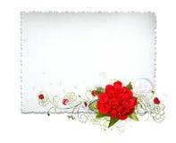 Cartão bonito com rosas vermelhas ilustração do vetor
