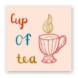 Cartão bonito com rotulação e copo do chá Foto de Stock