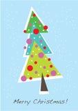 Cartão bonito da árvore de Natal Ilustração Stock