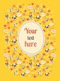 Cartão bonito da cor do cão com nuvem Imagem de Stock