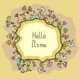 Cartão bonito da garatuja com fundo floral Imagens de Stock