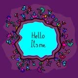Cartão bonito da garatuja com fundo floral Fotografia de Stock Royalty Free