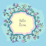Cartão bonito da garatuja com fundo floral Foto de Stock Royalty Free