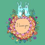 Cartão bonito da garatuja com os coelhos no amor Imagem de Stock Royalty Free