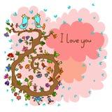 Cartão bonito da garatuja com os pássaros no amor e no fundo floral Foto de Stock Royalty Free
