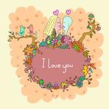 Cartão bonito da garatuja com pares no amor e no fundo floral Fotos de Stock