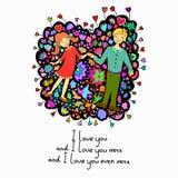 Cartão bonito da garatuja com pares no amor e no fundo floral Fotografia de Stock Royalty Free