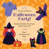 Cartão bonito de Halloween Fotografia de Stock
