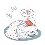 Cartão bonito do aniversário com um gato ilustração royalty free