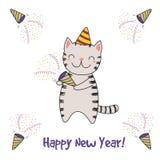 Cartão bonito do ano novo, bandeira ilustração stock