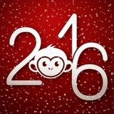Cartão bonito do ano novo feliz 2016 com a cara engraçada do macaco ilustração do vetor