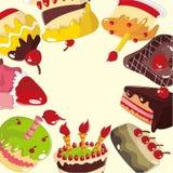 Cartão bonito do bolo dos desenhos animados Imagens de Stock