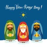 Cartão bonito do dia do ` de três reis com caráteres tirados mão Foto de Stock