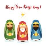 Cartão bonito do dia do ` de três reis com caráteres tirados mão Fotografia de Stock Royalty Free