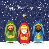 Cartão bonito do dia do ` de três reis com caráteres tirados mão Fotos de Stock