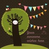 Cartão bonito do feliz aniversario com árvore e pássaros Fotografia de Stock