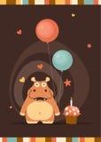 Cartão bonito do feliz aniversario com hipopótamo do divertimento Foto de Stock Royalty Free