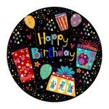Cartão bonito do feliz aniversario com presente e balões em cores brilhantes ilustração royalty free