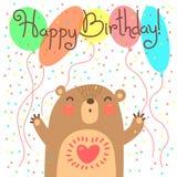 Cartão bonito do feliz aniversario com urso engraçado ilustração royalty free